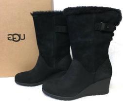 UGG Australia Edelina Boots Black Waterproof Wedge Boots Wom