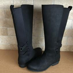 TEVA ELLERY BLACK WATERPROOF LEATHER TALL ZIPPER BOOTS SIZE