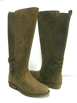 TEVA ELLERY WOMEN TALL BOOTS WATERPROOF LEATHER BISON US 10