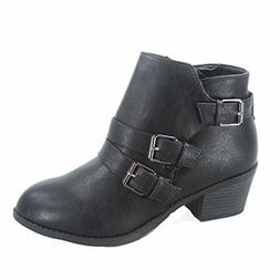 Forever Link Eury-4 Women's Fashion Round Toe Buckles Zipper
