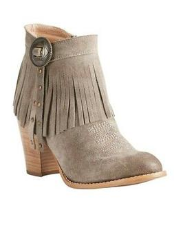 Ariat Fashion Boots Womens Avery Ankle Fringe 6 B Taupe 1002