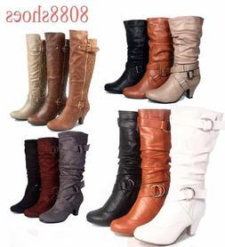 Fashion Low Heel Mid Knee Calf Zipper Dress Boots Women's Sh