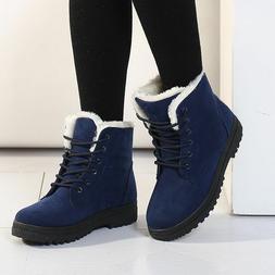 Fashion Winter Women Boots Flat Ankle Fur Lined Lady Warm Sn