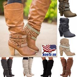Fashion Women's Block High Heel Buckle Rivet Punk Boots Mid