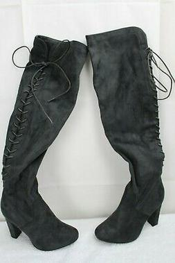 TOP MODA Faux Leather Gray Laced Zippered Over the Knee High