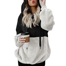 Fleece Pullover Women Sherpa Cozy Oversize Fluffy Fleece Swe