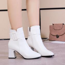 <font><b>White</b></font> Black Thick High Heel Ankle <font>