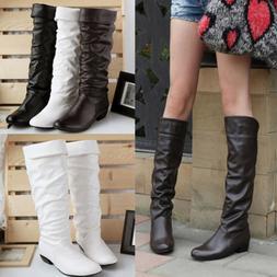 <font><b>Women</b></font> Leahter Knee High <font><b>Boots</