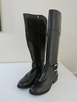FRYE & CO WIDE CALF BLACK LEATHER SIDE ZIP TALL BOOTS ADELAI