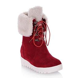 JOYBI Women Fur Lined Winter Mid-Calf Boots Lace-Up Round To