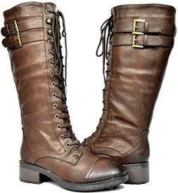b5edb2e947e DREAM PAIRS Women s Georgia Brown Faux Leather Pu Knee High