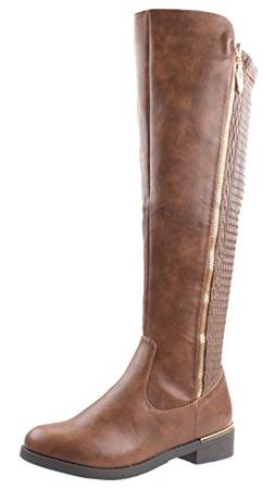 Top Moda Shoes Women's Ginger-5 Tan Riding Round Toe Knee Hi