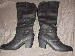 Glabal Win Black Leather Boots Style 18YY29,, size 9
