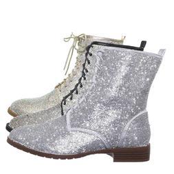 Glisten26 Rhinestone Crystal Combat Boots - Womens Embellish