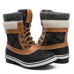 Globalwin Women's Winter Snow Boots  US Women's, Black/Camel
