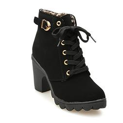 Gotd Women High Heel Boots Lace Up Ankle Buckle Platform Mar