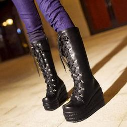 Gothic Womens Lace Up Platform Mid Calf Boots Cosplay Shoes