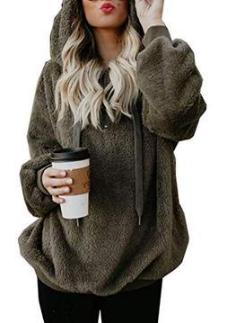 onlypuff Green Sherpa Pullover Hoodie Sweatshirt for Women C