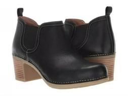 Dansko Harlene Ankle Boots Waxy Burnished Leather Black Size