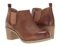Dansko Harlene Ankle Boots Waxy Burnished Leather Tan Size 3