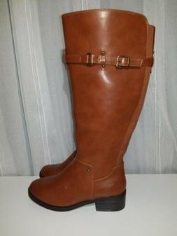 Toetos Hazel Cognac Womens Riding Boots Knee High Size Wide