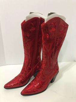 Helen's Hearts Tall Red Western Sequin Women's Boots Siz