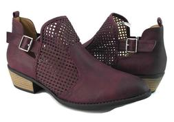 J. Adams Womens Purple Vintage Leather Cuban Heels Ankle Boo