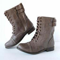 RAMPAGE Jaycer Faux Leather Women Combat Boots Mid Calf Lace