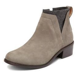 Vionic Joslyn Leather Ankle Boots Side Zip Wool Accent Women