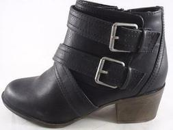 Rampage Juliet Women's Ankle Boots Black Strappy Zip Up Dres
