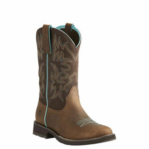"""Ariat 10021457 Delilah Round Toe 10"""" Two Tone Western Cowgir"""