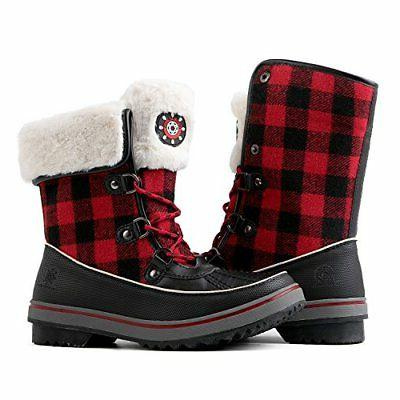 Global Win GLOBALWIN Women's Black/Red Plaid Winter Snow Boo