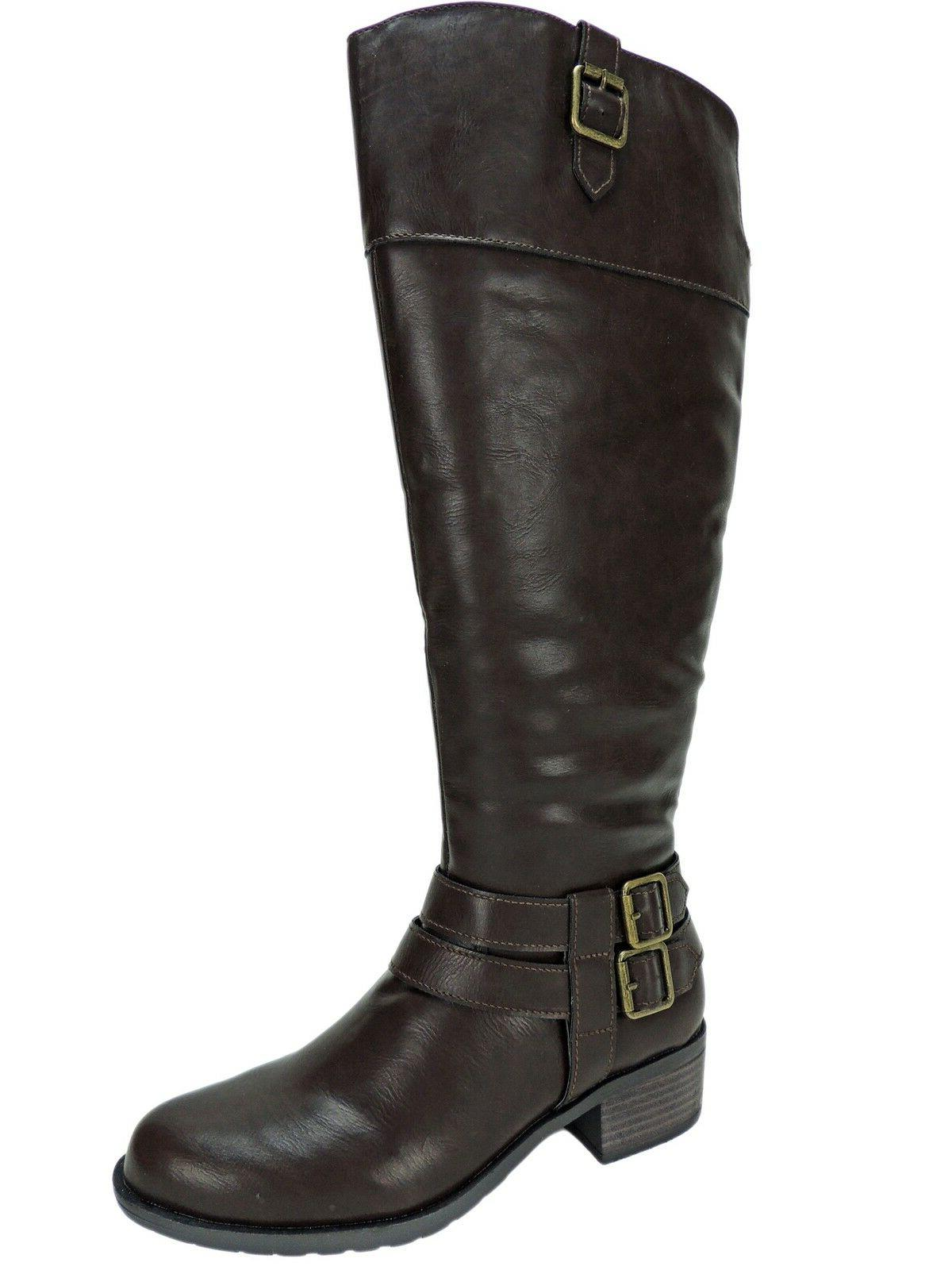 Rampage Women's Ingred Wide Calf Riding Boots Brown Size 6.5
