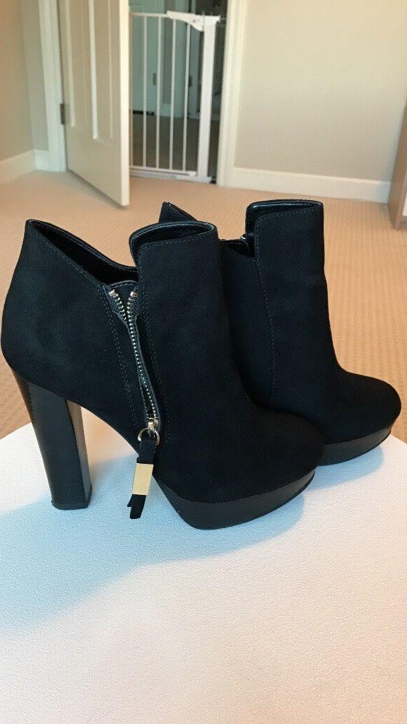 Women black suede heels boots 6,5