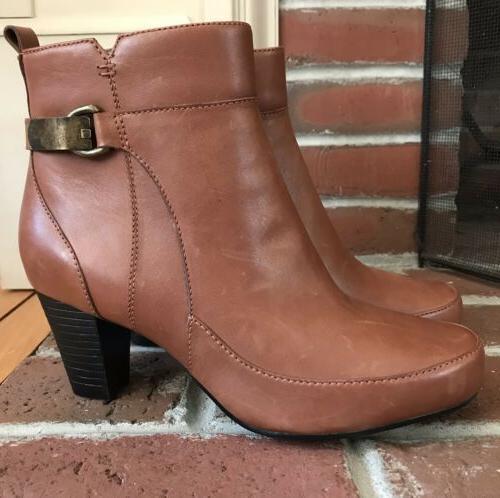 Clarks Bendables Ankle Boots Women's 6.5W Stunning Cognac