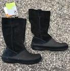 Crocs Berryessa Suede Leather Tall Black Boots Pull On Women