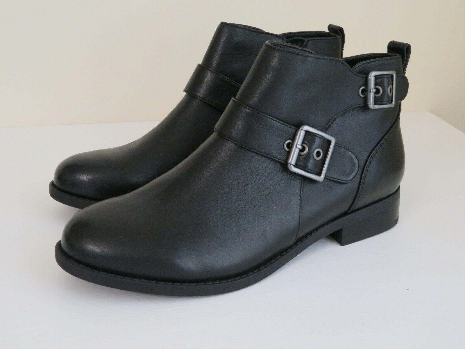 black leather ankle boots booties w buckle