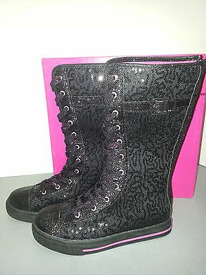 ENZO ANGIOLINI Black Lace/Buckle Sneaker Size 5 Girls
