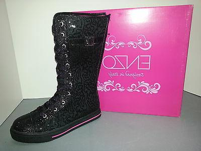 ENZO Sequin Lace/Buckle Up Boots Size Womens Girls