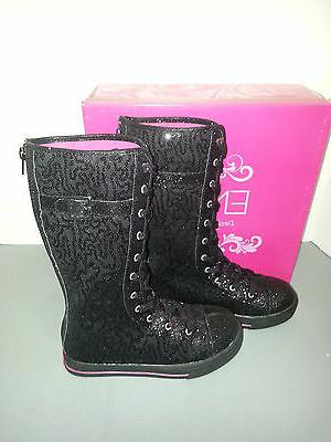 ENZO ANGIOLINI Black Sequin Lace/Buckle Up Sneaker Size 5 Girls