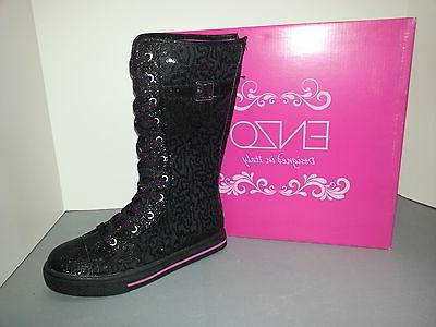 black sequin lace buckle up sneaker boots