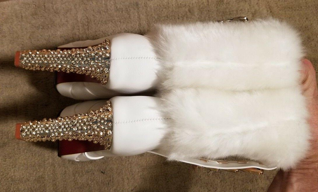 BRAND Leather Boots High-Sparkle-Heels Fuzz-Top/Lined Sz