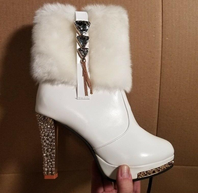 BRAND NEW Leather Short Boots High-Sparkle-Heels Sz