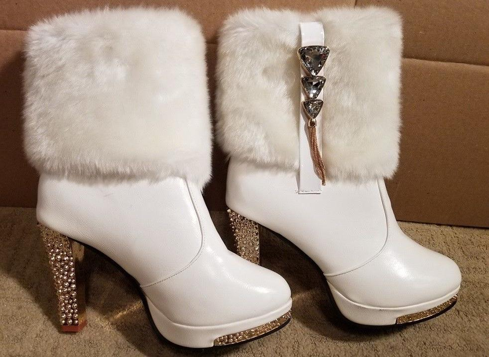 brand new leather short boots high sparkle