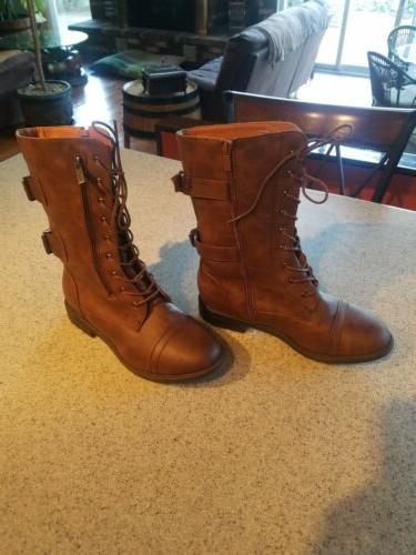Brand Brown SIZE 10 Mid-Calf Zipper Boots