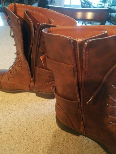 Brand Top Moda's Brown Mid-Calf Lace-up Boots