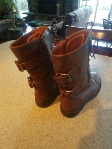 Brand Brown SIZE Mid-Calf Zipper Combat Boots