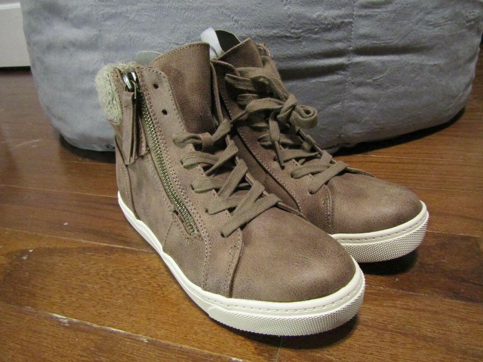 brand taupe hi top casual shoes boots