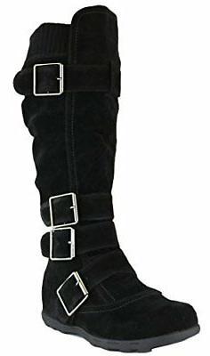 Cambridge Women's Knee-High Flat Boots, Faux Suede Buckle Sw