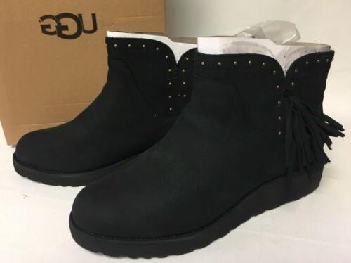 Ugg Australia Cindy Fringe Black Womens Leather Ankle Boots